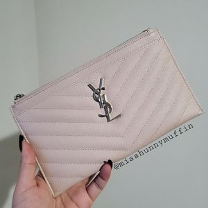 RARE Authentic YSL Bill Pouch Marble Pink SHW